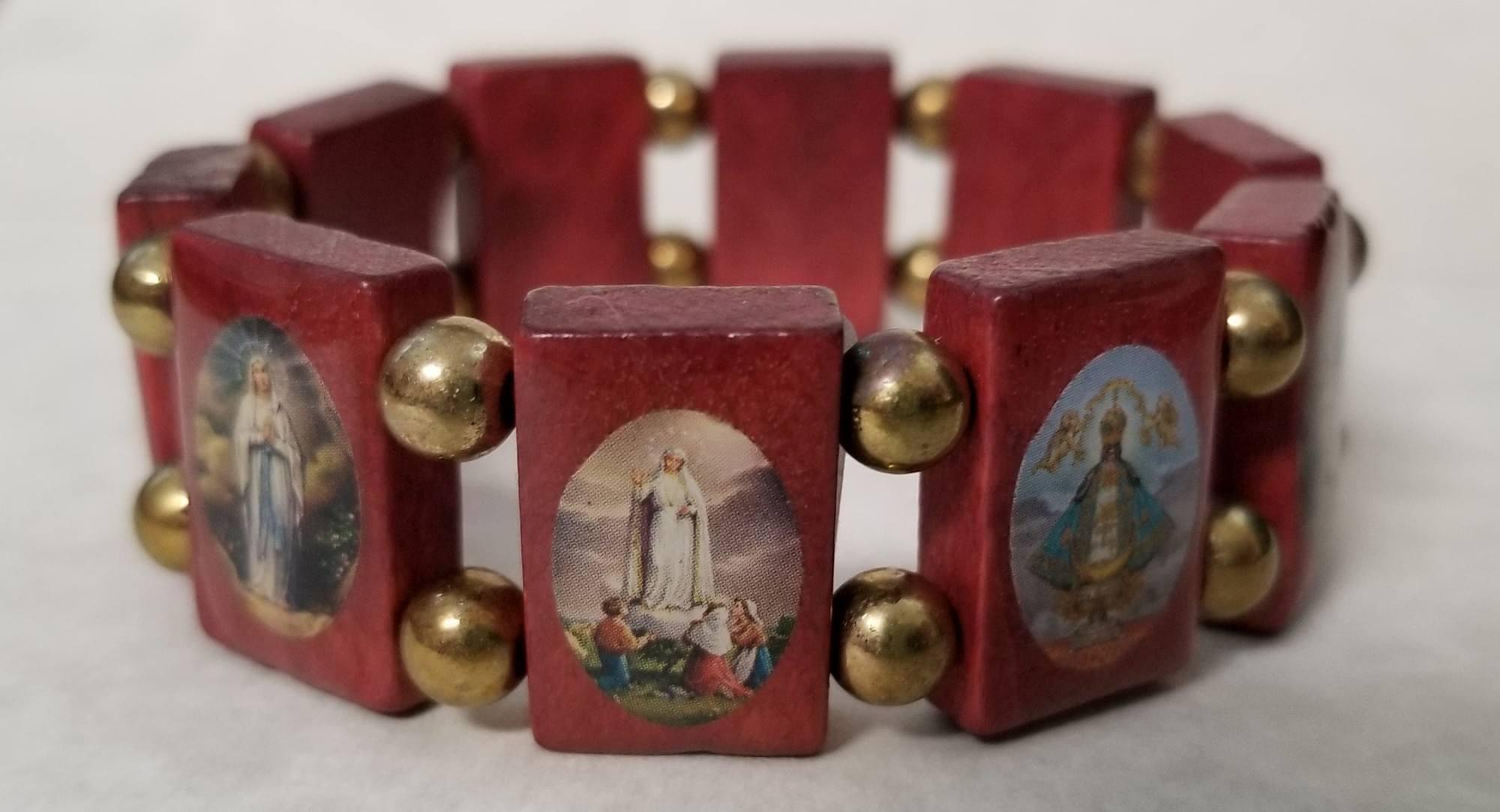 Red Wooden Saints Bracelet